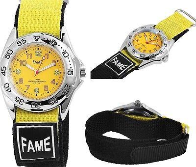 Herren Sport Beach Armbanduhr Textil Klettband Klettverschluss Gelb/Schwarz 3ATM