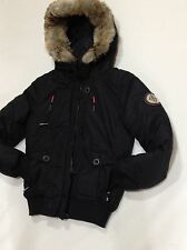 BENCH Size XS Black Jacket Full Zip Parka Fur Drawstring  Hoodie Thumbhole Women