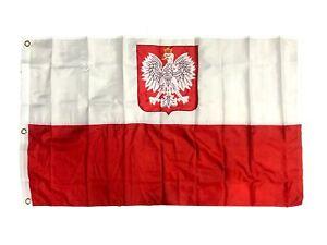 Poland Polish Old Poland with Eagle 2 Ply 300D Embroidered Flag New 3/'x5/'feet
