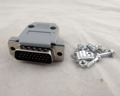10pcs Gray DB26 Male 26 Pin 3 Rows D-SUB Connector Plastic Hood Cover Backshell