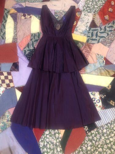 Vintage 1940's Purple Taffeta Dress With Beading