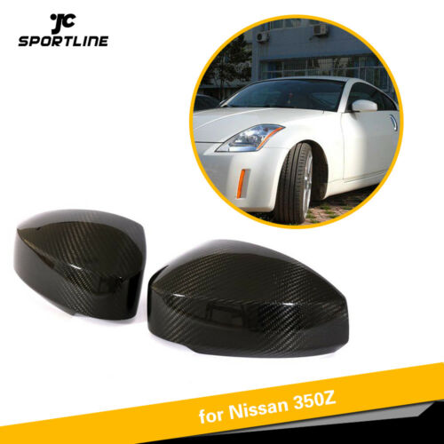 2PCS Carbon Fiber Side Mirror Cover Cap Add on Fit for Nissan 350Z 03-09 Factory
