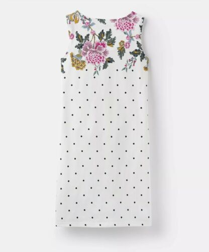 JOULES CREME SPOT BOARDER FLORAL SLEEVELESS JERSEY DRESS SIZE 10