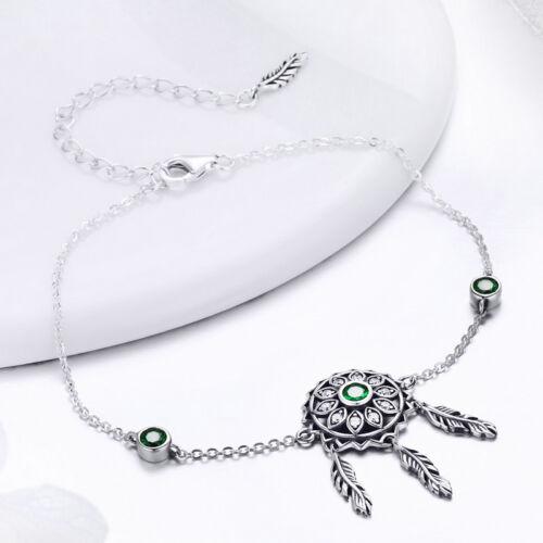 Rêve et Catcher 925 Sterling Silver Bangle Bracelet Charme Zircone cubique Femme Bijoux