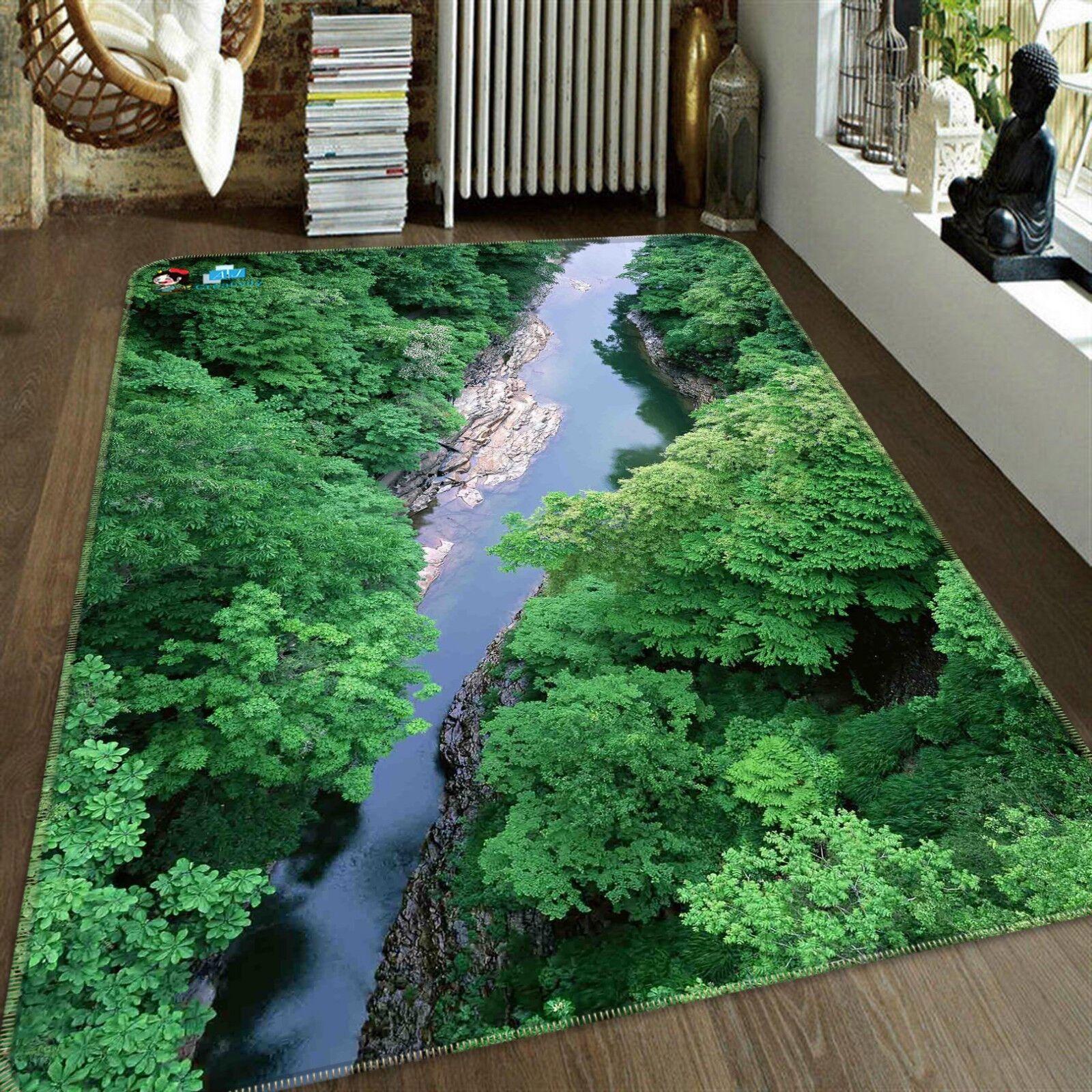 3d bosque río 21 antideslizante alfombra de maletero calidad elegante alfombra de