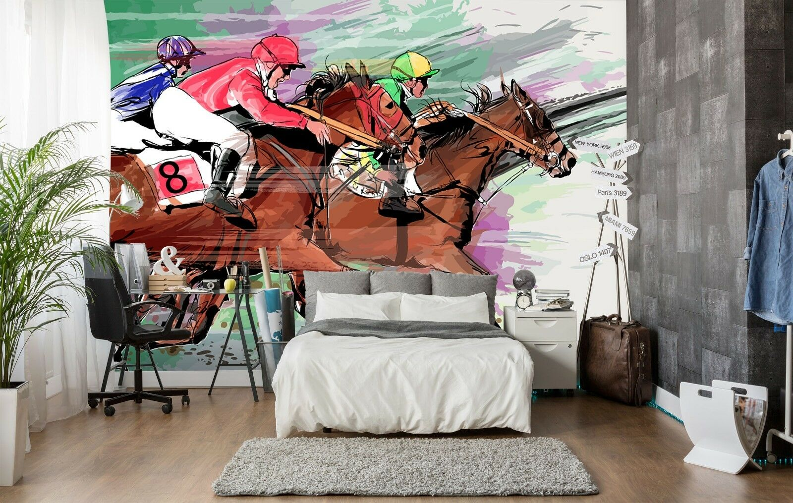 3D Horse Man 7037 Wall Paper Print Wall Decal Deco Indoor Wall Murals US Summer