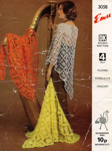 Ladies Shawl Repro 4 ply or DK 1970s Emu 3058 Vintage Crochet Pattern