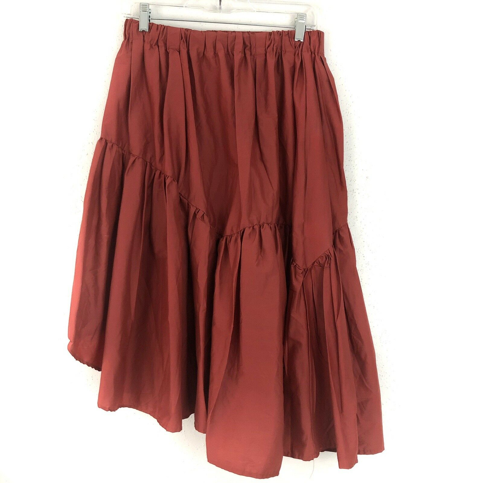 Anthropologie 5 On 7 Asymmetrical Poplin Skirt Size L Large Rust Red