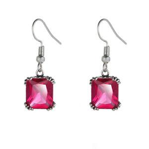 Handmade Jewelry Retro Stlye  Rose Topaz Gemstone Silver Dangle Hook Earrings