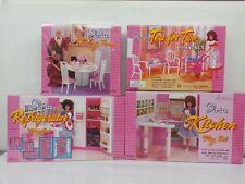 Gloria,Barbie Doll House Furniture/ 4 set of  Dining,Tea, Fridge & Kitchen