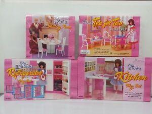 Gloria-Barbie-Doll-House-Furniture-4-set-of-Dining-Tea-Fridge-amp-Kitchen