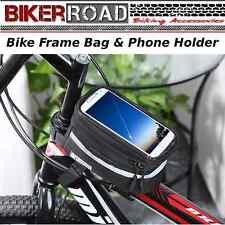 BIKER RoadBike Frame Phone Holder & Travel Bag -Waterproof  -  BLACK with Handle