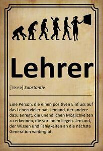 Definition Lehrer Lehrerin Blechschild Schild gewölbt Tin Sign 20 x 30 cm FA1273