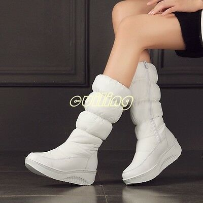 Womens down knee high boots Winter warm thick side zipper wedge heels snow boots