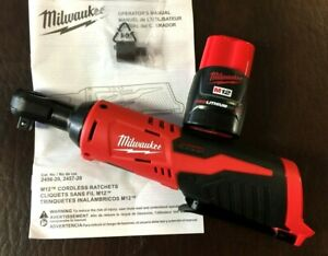 NEW-Milwaukee-2457-20-M12-Cordless-3-8-034-Ratchet-Tool-amp-Battery-48-11-2401