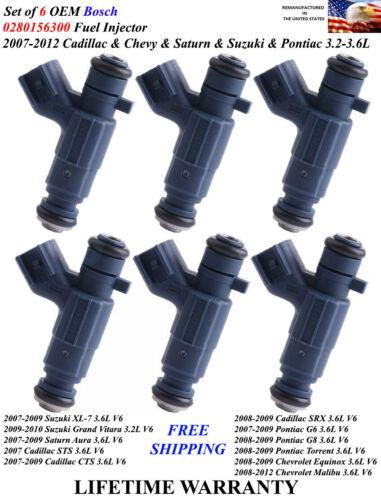 Set of 6 Genuine Bosch Fuel Injectors For 2007-2008-2009 Pontiac G6 3.6L V6