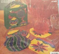 Bucilla Plastic Canvas Christmas Ornaments Coasters Set Of 6 W/holder 1997