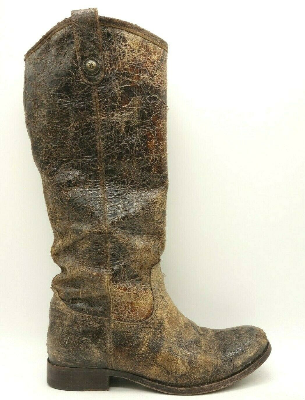 Frye marrón cuero envejecido botas Altas Tire de levantarse Mujer 7 B