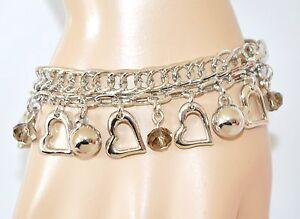 BRACCIALE-argento-donna-ciondoli-cristalli-cuori-catena-regalo-san-valentino-Z22