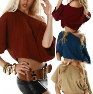 super popular 78bfb 909fd Details zu Sexy Damen Oversize Pulli Trend Strick kurz Pullover M/L 36/38  TOP beige braun