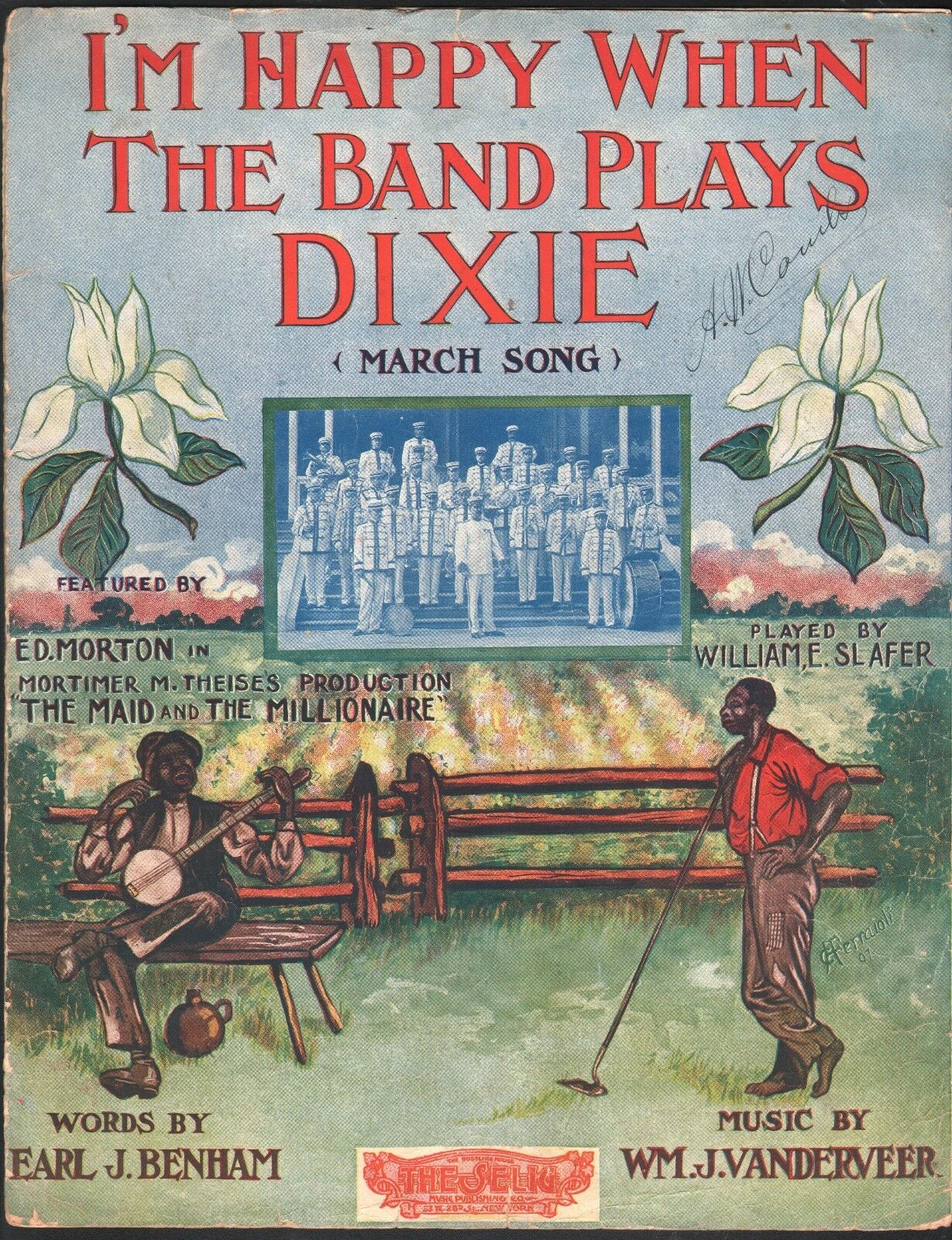 I'm Happy When the Band Plays Dixie 1907 Large Format Sheet Music