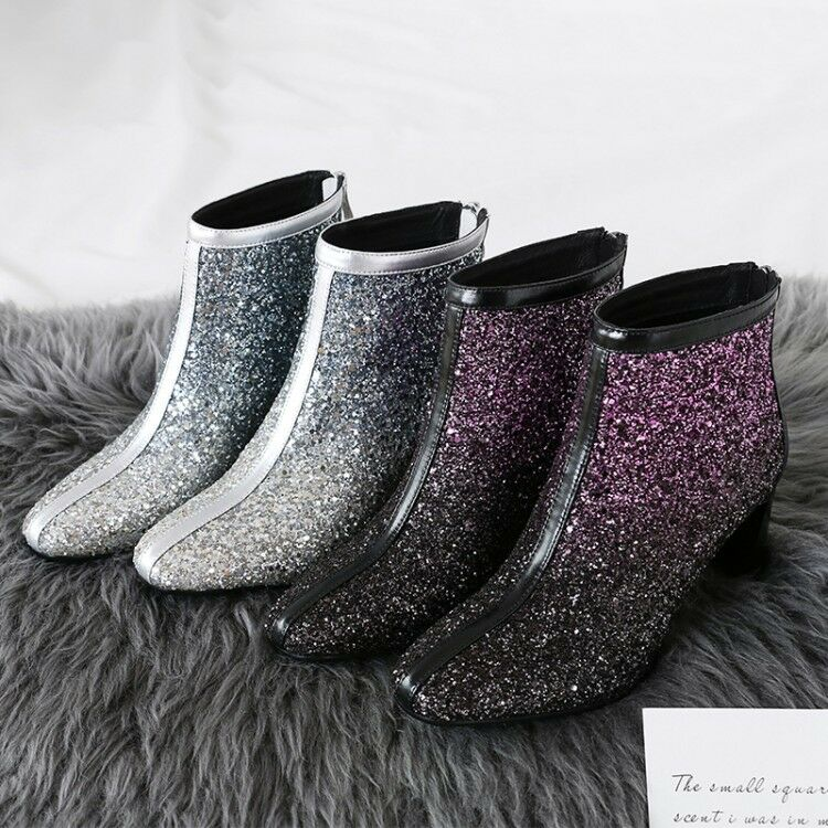 New Occident Stylish Glitter Squine Nightclub Ankle Boots Square Toe Blcok Heels