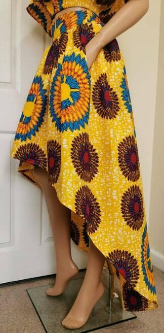 """sophie"" African Print High-low Jupe 100% Cire Coton Fait Main Uk"