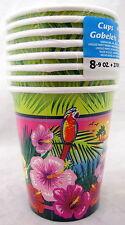 Luau Hibiscus Flower Parrot 9 oz Paper Beverage Cups 8 count Birthday Supplies