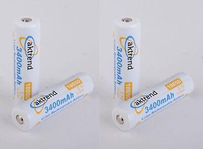 4x Aktrend Akku 18650 Pcb 3.7v 3400mah - Li-ion Wiederaufladbare Batterie