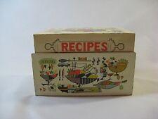 "Vtg. ""Food Of Plenty"" Metal Recipe Box W/Sleeve Handwritten/Typed Recipes"