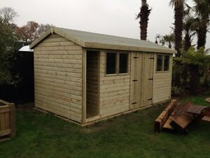 16-x-8-Heavy-duty-19mm-t-amp-g-Tanalised-Apex-Workshop-with-log-store-cubby-hole