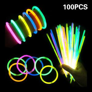 100Pcs-Premium-Glow-Sticks-Bracelet-Necklaces-8-034-Multi-Colors-Neon-Party-Lights