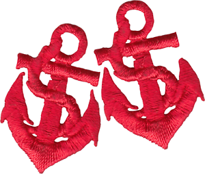 SET OF 2 Patches Red Anchors Sailor Retro Pinup 50s Beach Pair Iron On #51057