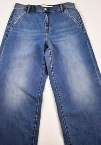 Details About Women S Gap 1969 Jeans Size 29 Denim Blue Wide Leg High Rise Five Pockets Cotto