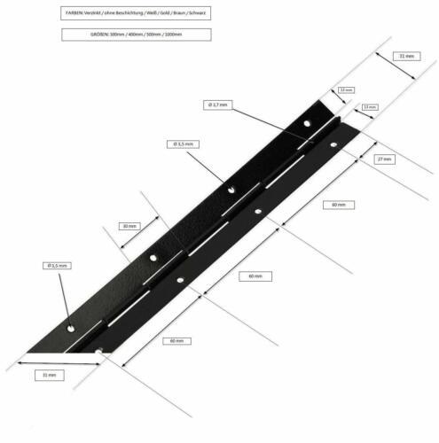 KOTARBAU Stangenscharnier Klavierband 400 mm Verzinkt Teilbar Scharnier Kürzbar