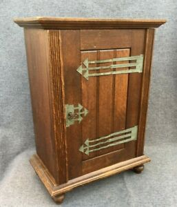 Antique french pharmacy cabinet furniture Early 1900's wood with key 10lb
