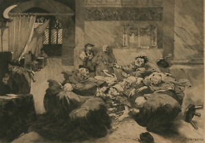George Montbard (1841-1905) - Late 19th Century Etching, Elderly Misers I