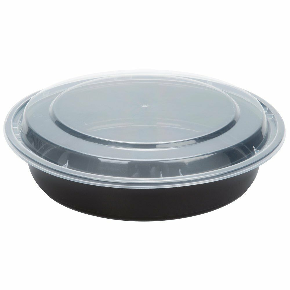 """Pack of 10 Black 16 oz 6/"""" Round Microwavable Plastic Container with Lid TP0610B"""