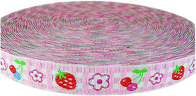 Kitty Tulip Gingham Woven Jacquard Ribbon Sewing Braid Embroidery Trim Collage