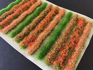 Intelligent Fleur Orange Bush & Haie Bandes-static Grass Tufts Modèle Paysage Chemin De Fer-afficher Le Titre D'origine Non Repassant