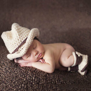 Uk Newborn Baby Girl Boy Cowboy Hat And Booties Costume Photography Crochet Knit