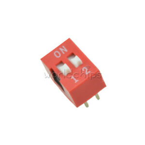 10/20/50/100PC<wbr/>S 2.54mm Pitch 2-Bit 2 Positions Ways Slide Type DIP Switch Red