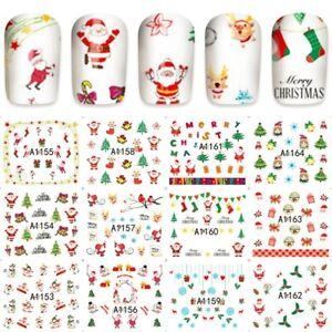 Nail-Art-Pegatinas-Transferencias-Navidad-Feliz-Navidad-Muneco-De-Nieve-Santa-Collection