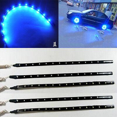 5x 30cm Waterproof 15 Blue LED Car Vehicle Motor Grill Flexible Light Strips 12V