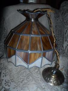 Vintage-LG-Amber-Stained-Slag-Glass-Hanging-Swag-Lamp-Ceiling-Fixture-Chandelier