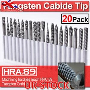 20Pcs Tungsten Carbide Rotary Point Burr Die Grinder Shank Tools Drill Bits Set