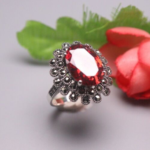 Details about  /Solid 925 Sterling Silver Ring Oval Red Chalcedony Elegant Ring For Woman