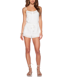 265 TWELFTH STREET by CYNTHIA VINCENT WHITE LACE TRIMMED ROMPER Sz L