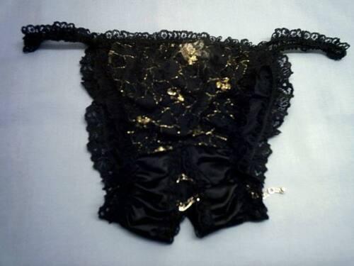 Noir Nylon Bikini String vintage Entrejambe Culotte Tanga Culotte