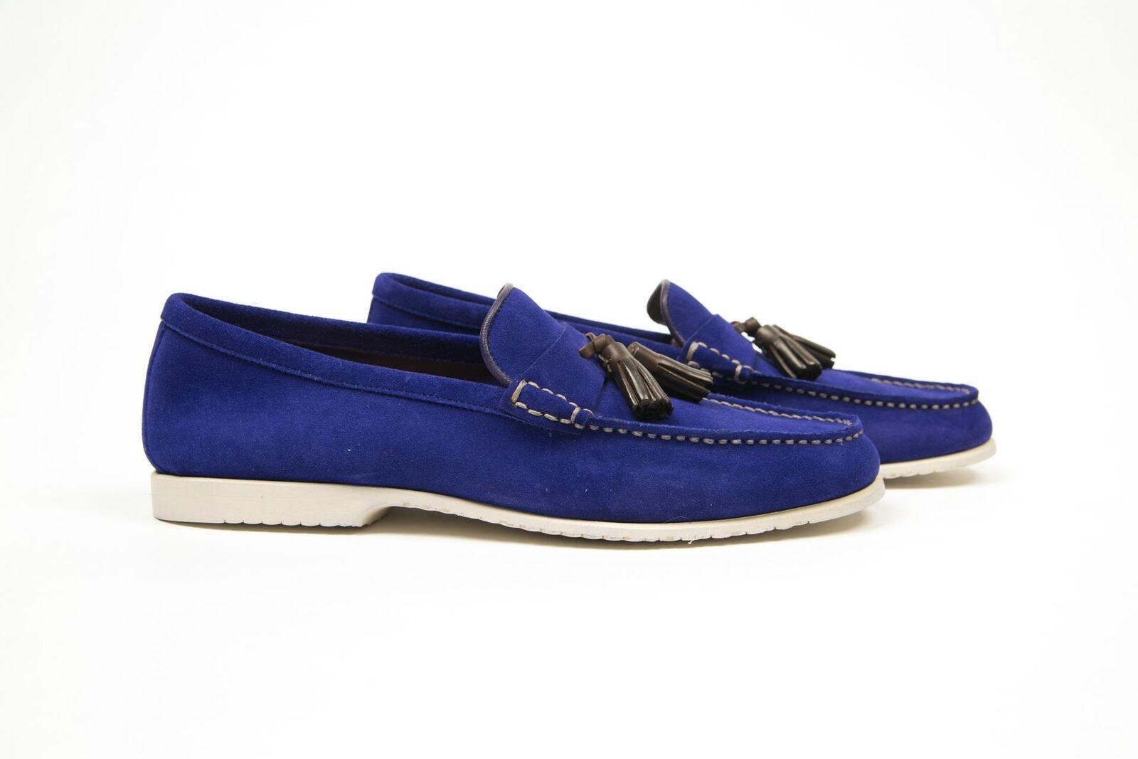 Tom Ford New  790 Suede Dark Blue Tassel Loafers  Slip On Scarpe FW18 9T 10 US